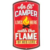 Ol' Camper Lives Here Metal Sign
