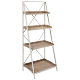 White & Brown Four-Tiered Wood Shelf