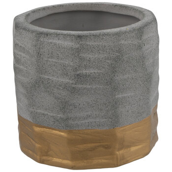 Cement Vase With Gold Bottom