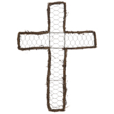Chicken Wire Cross Metal Wall Decor
