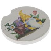 Floral Garden Gnome Car Coaster
