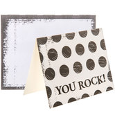Cream & Gray Polka Dot You Rock Cards