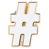 White Hashtag Metal Pin
