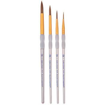 Brown Taklon Round Paint Brushes - 4 Piece Set