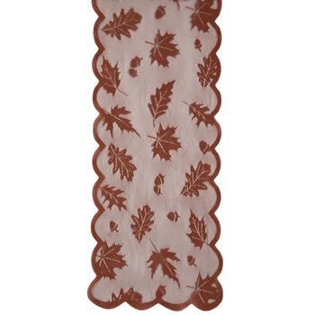 Rust Leaf & Acorn Lace Table Runner