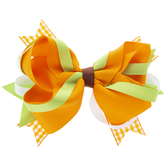 Orange & Green Grosgrain Hair Clip