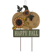 Happy Fall Pumpkin Metal Garden Stake