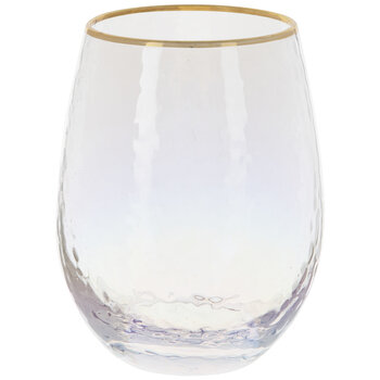 Iridescent Stemless Glass With Gold Rim