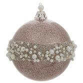 Rose Gold Glitter Beaded Ball Ornaments