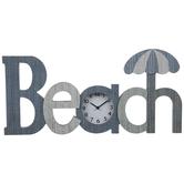 Beach Time Wood Wall Clock