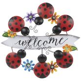 Ladybug Welcome Wreath Metal Wall Decor