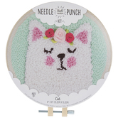 Cat With Roses Punch Needle Kit