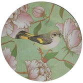 Black & Yellow Bird Floral Plate Charger