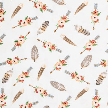 Floral Arrow Feather Knit Fabric