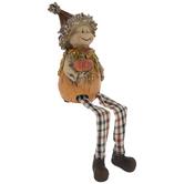 Scarecrow Shelf Sitter With Pumpkin