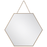 Gold Hexagon Wall Mirror - Large