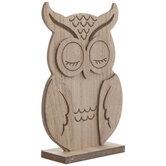 Standing Owl Wood Decor