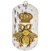Bee In Crown Dog Tag Pendant