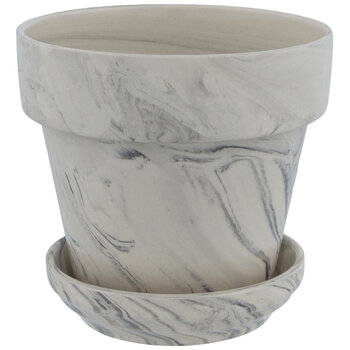 Taupe & Black Marble Pot With Base