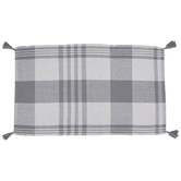 Gray & White Tasseled Plaid Rug