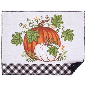 Pumpkins & Buffalo Check Drying Mat