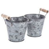 Double Pot Galvanized Metal Planter