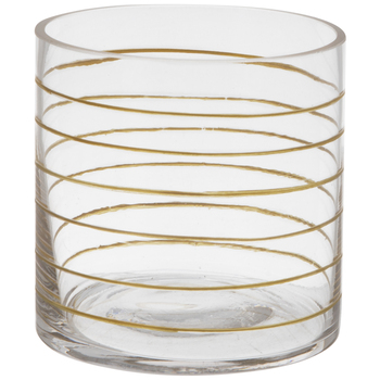Gold Horizontal Striped Glass Candle Holder