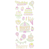 Neon Glitter Happy Birthday Stickers