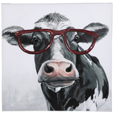 Cow Wearing Glasses Canvas Wall Decor