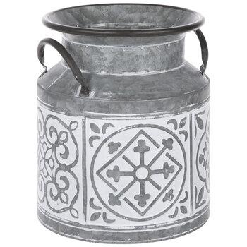 Whitewash Tile Galvanized Metal Container - Small
