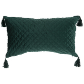 Emerald Quilted Tassel Pillow
