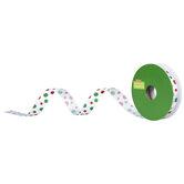 """Red & Green Glitter Polka Dot Single-Face Satin Ribbon - 5/8"""""""