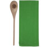 Green Kitchen Towel & Wood Spoon