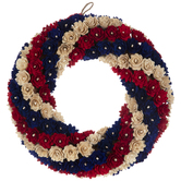 Red, Natural & Blue Striped Woodchip Wreath