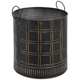 Black & Gold Checkered Metal Container