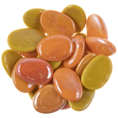 Yellow & Orange Oval Glass Mosaic Gems