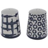 White & Blue Patterned Salt & Pepper Shakers