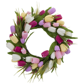 Pink, Purple, & Yellow Tulips Wreath