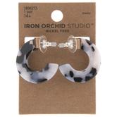 Black & White Tortoise Hoop Earrings