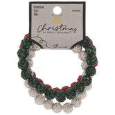 White, Green & Red Rhinestone Beaded Bracelets