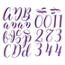 Purple Glitter Script Alphabet Stickers