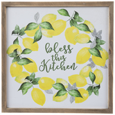 Bless This Kitchen Lemon Wreath Wood Wall Decor
