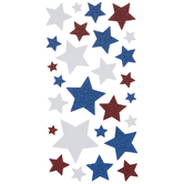 Red, White & Blue Star Glitter Stickers