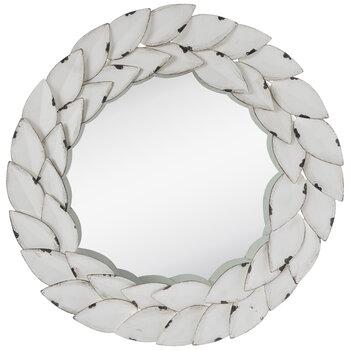 Distressed White Wreath Wall Mirror