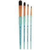 Black Taklon Filbert Paint Brushes - 4 Piece Set