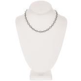 """Plated Hematite Rhinestone Chain Necklace - 16"""""""