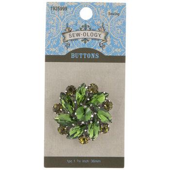 Green Floral Rhinestone Shank Button