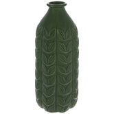 Green Ribbed Leaf Vase