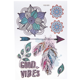 Good Vibes Medallion & Feathers Removable Stickers