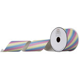 "Rainbow Diagonal Glitter Canvas Ribbon - 2 1/2"""